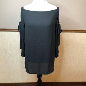 LOFT Outlet Small Black Cold Shoulder Blouse Bows